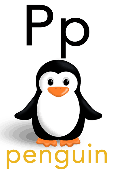 Baby ABC Flashcard - P for penguin