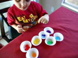 sensory activities - button sorting